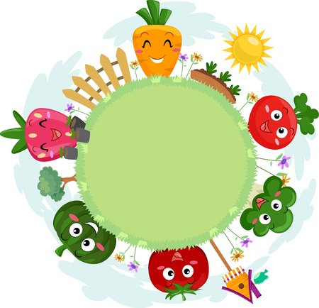 anthropomorphism: Colorful Illustration Featuring a Circular Patch of Grass Surrounded by Smiling Fruit and Vegetable Mascots