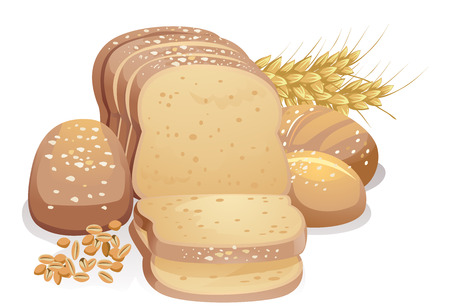 Illustration Featuring a Loaf of Freshly Baked Bread Placed Beside Wheat Grains