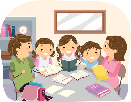 母と父の宿題で自分の子供たちを助ける特徴バッター イラスト