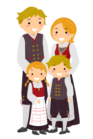 traditional illustration: Stickman Illustration Featuring a Norwegian Family Wearing Traditional Clothes