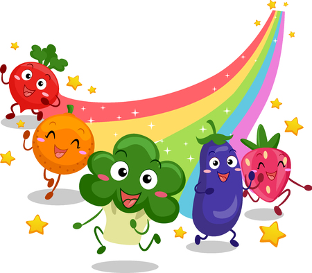 Illustration Featuring Fruit and Vegetable Mascots Leaving a Colorful Trail as They Run Stock Photo