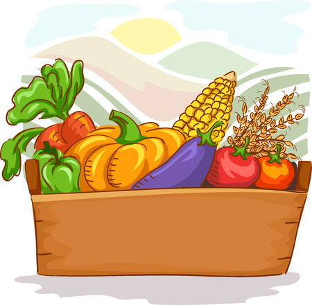 freshly: Colorful Illustration of a Basket Filled with Freshly Harvested Fruits and Vegetables Stock Photo