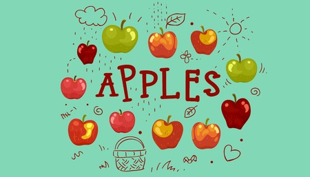 golden apple: Illustration Featuring the Word Apples Surrounded by Different Varieties of the Fruit Stock Photo