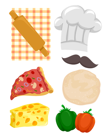 Illustration Featuring Different Ingredients and Tools Used in Making Pizza