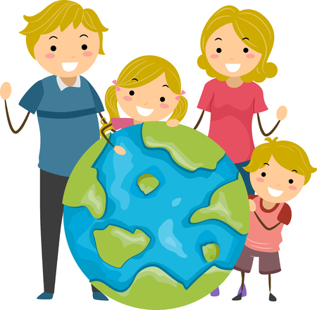 globe illustration: Stickman Illustration Featuring a Family Standing Around a Giant Globe Stock Photo