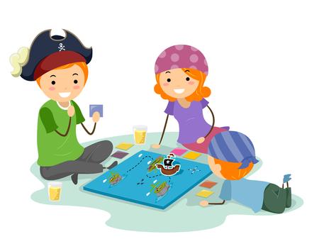 보드 게임을 해적으로 옷을 입고 가족을 갖춘 Stickman 그림 스톡 콘텐츠