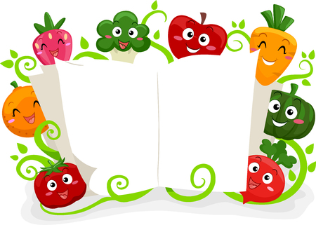 anthropomorphism: Colorful Illustration Featuring Fruit and Vegetable Mascots Reading a Book