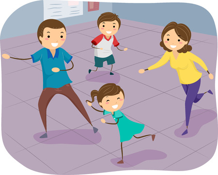 family playing: Stickman Illustration of a Family Happily Playing a Game of Indoor Tag Stock Photo