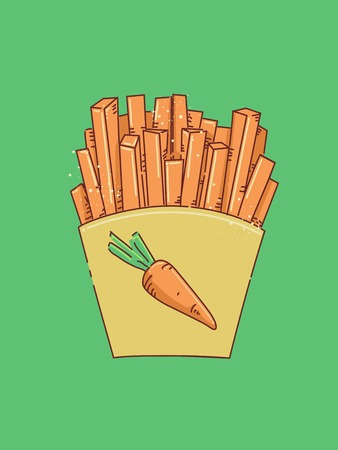 Illustration Featuring Thin Carrot Slices Bagged Like Takeaway French Fries Stock Photo