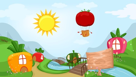Whimsical Illustration Featuring a Community Filled with Houses Shaped Like Fruits and Vegetables Stock Photo