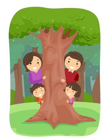 family park: Stickman Illustration of a Family in an Outdoor Park Playfully Hiding Behind a Tree