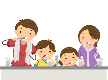 Stickman Illustration of a Family Brushing Their Teeth Together Before Bedtime Stock Photo