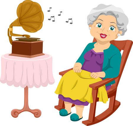 Ilustración que ofrece una mujer anciana sentada en su mecedora mientras escucha música de su gramófono Foto de archivo - 75141065