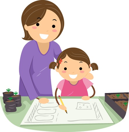 Stickman Illustration of a Mother Teaching Her Daughter How to Draw a Garden Stock Photo