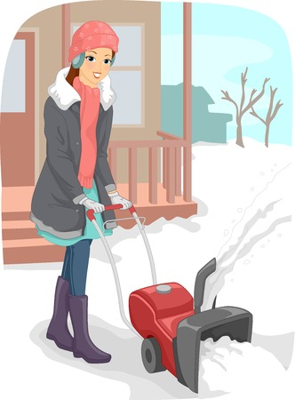 removal: Illustration of a Young Woman in Winter Clothes Using a Snow Blower to Clear the Driveway of Snow