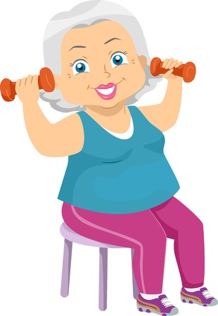 Illustration Featuring an Elderly Woman in Exercise Clothing Lifting a Pair of Dumbbells