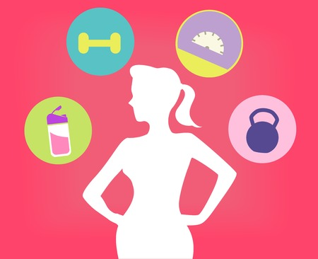 Illustration Featuring a Young Fit Woman Surrounded by Fitness Related Icons Stock Illustration - 75140869