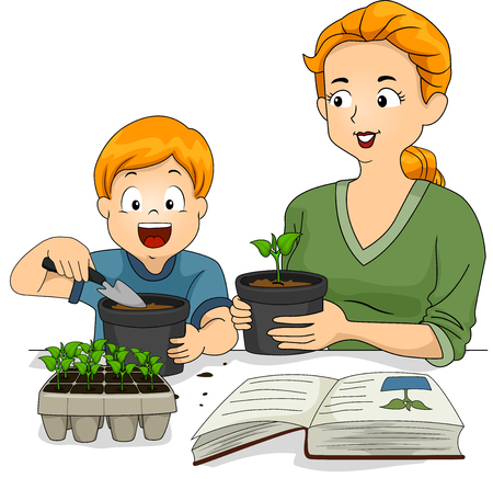Stickman Illustration of a Mother and Son Consulting a Book on How to Transplant Seedlings
