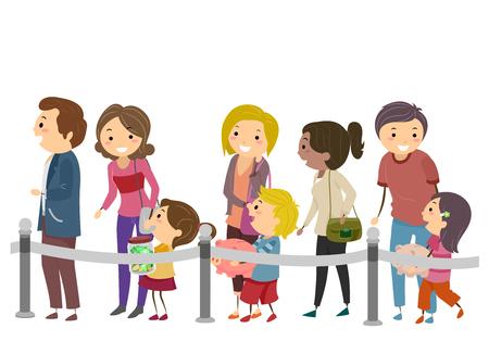 Stickman Illustratie van ouders die hun kinderen begeleiden om hun besparingen bij de bank te storten