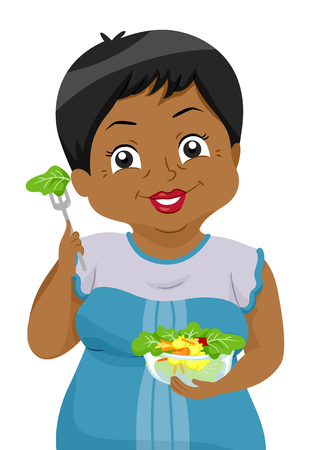 salad: Illustration Featuring an Elderly Black Woman Holding a Bowl Full of Fresh Vegetables Stock Photo