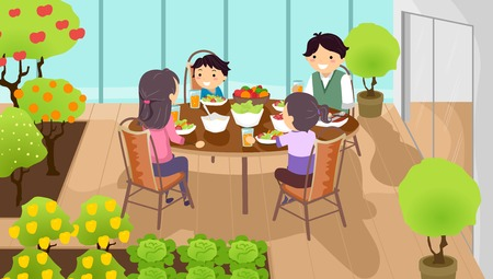 homemaker: Stickman Illustration of a Family Having a Meal Together at an Indoor Garden