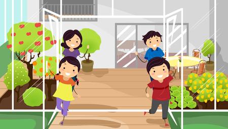 convivencia familiar: Ilustración stickman de una familia acogedora visitantes a sus Greeenhouse