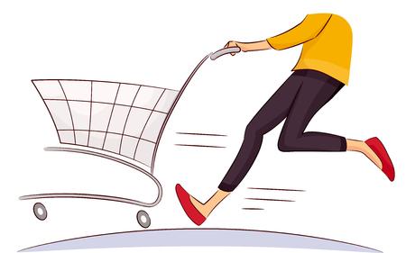 Ilustración que ofrece una mujer Shopper corriendo mientras empuja una cesta de la compra