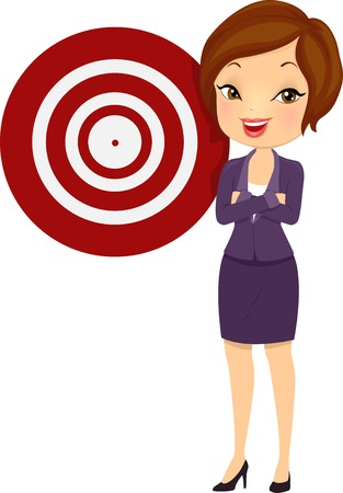 Illustration of a Beautiful Young Woman in a Corporate Attire Standing Beside a Target Board Stock Photo