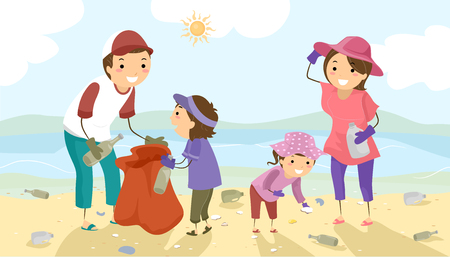 Stickman Illustration of a Family Picking Litter Off the Beach During a Coastal Cleanup Stock Photo