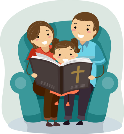 christian young: Stickman Illustration of a Father and Mother Reading a Bible Story to Their Daughter