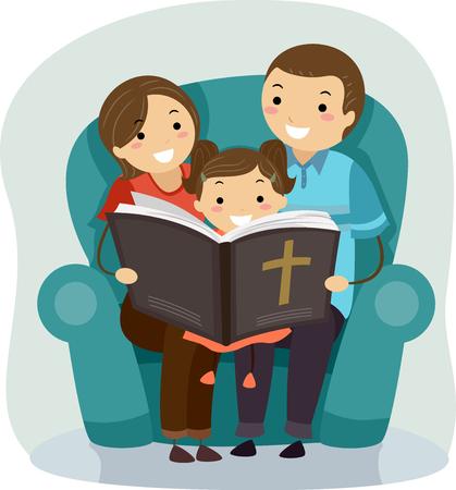 Stickman Ilustracja Ojca i Matki Czytanie Historii Biblii ich córce