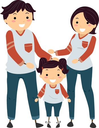 time out: Stickman Illustration of a Family Wearing Matching Shirts, Pants, and Shoes Stock Photo
