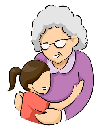 Illustration Featuring a Little Girl Giving Her Elderly Grandmother a Big Hug