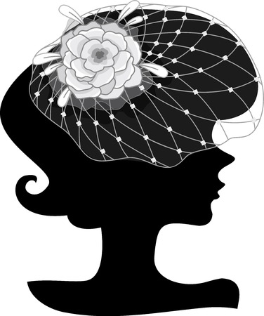 elaborate: Illustration Featuring the Outline of a Young Woman Wearing an Elaborate Floral Headdress