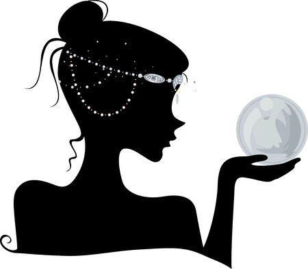 wiccan: Illustration Featuring the Outline of a Young Wiccan Woman Wearing Head Beads Holding a Crystal Ball