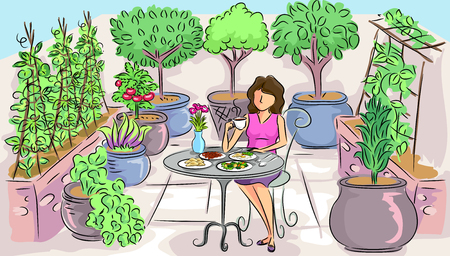 fresco: Illustration of a Woman Having a Peaceful Breakfast in a Container Garden