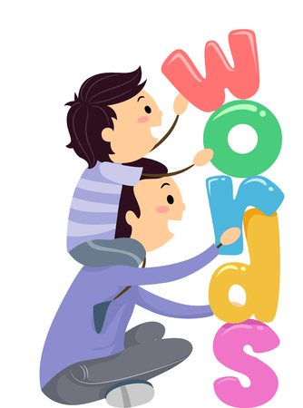 Stickman Illustration of a Father and His Son Stacking Up Letters That Spell the Word Words