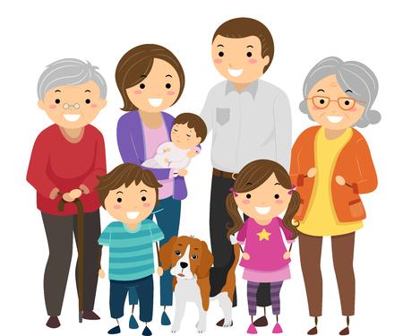 조부모의 쌍에 의해 이끌린 큰 가족의 Stickman 삽화