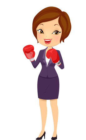 business challenge: Illustration of a Beautiful Young Woman in Corporate Attire Wearing a Pair of Boxing Gloves Accepting a Business Challenge