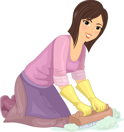 Illustration of a Homely Young Woman in an Apron Scrubbing the Floor with a Wooden Brush