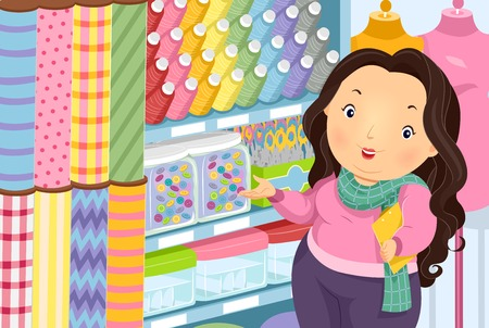 threads: Illustration of a Plump Woman at a Textile Shop Presenting Sewing Accessories Stock Photo