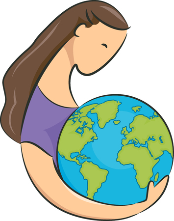 hugging: Conceptual Illustration Featuring a Young Woman Embracing a Giant Globe