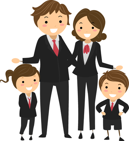 homemaker: Stickman Illustration Featuring a Family Wearing Matching Corporate Attire Stock Photo