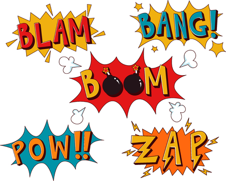 electrocution: Colorful Illustration Featuring Sound Effects Commonly Used in Comic Strips
