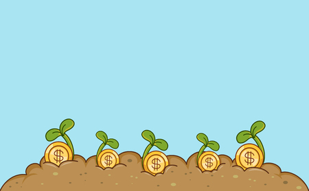 Conceptual Border Illustration Featuring Gold Coins Sprouting Out of the Earth