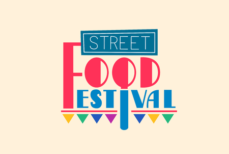 post: Typography Illustration Featuring the Words Street Food Festival Decorated with Street Signs