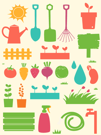 Stencil Illustration Featuring Different Vegetables and Gardening Tools Stock Photo