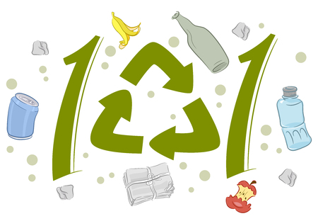 Lettering Illustration Featuring Recycling Symbols Surrounded by Recyclable Trash