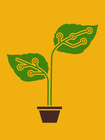 Conceptual Illustration of a Young Plant with Electronic Circuits Attached to its Leaves