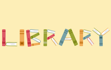 books library: Typography Illustration Featuring Books Stacked Against Each Other to Spell Out the Word Library